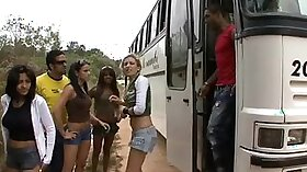 Bus stop hookers fucked from public after party