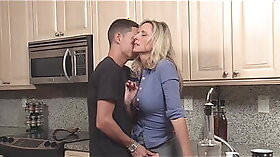 Aonj massive bongs being used in family kitchen and pounded by huge cock