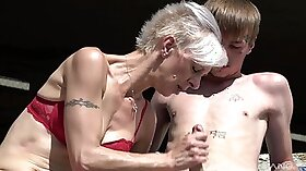 Blonde mature granny gets fucked outdoors