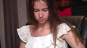 Nice brunette sister masturbates at a casting