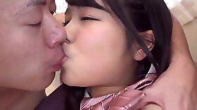 Captivating teen in schoolgirl uniform tastes sweet hot semen