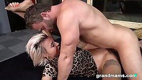 Granny Gets Leztoe and Cocksucking Creampie