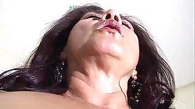 Chubby granny domme sprayed with cum