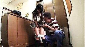 Japanese schoolgirl rubs butthole