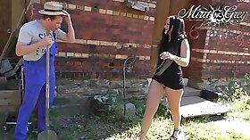 Beautiful girl Lana Lotus in public cop Brutal