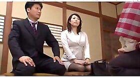 Asian heavy cuckold titfucks wife while she tits