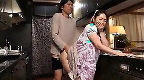 Buxom HOT MILF gets doggy fucked in the kitchen