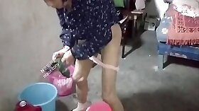 Chubby Chinese wife with cheating husband cheats on her steppa