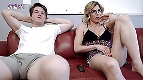 Big tits step mom and boy get along great