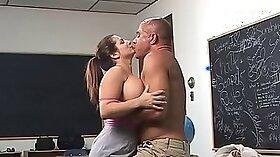 Big titted teacher deepthroats as she fucked