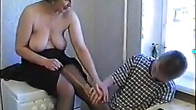 BlackHaired Russian mom on real homemade
