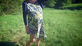 Pregnant honey fucked outdoors for young cum