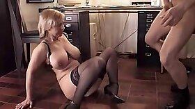 Frisky MILF gets anal fucked completely naked and sucks in stockings