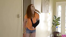 Sexy brunette stepsister starlet sucking a dick