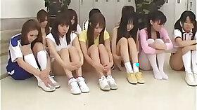 Japanese schoolgirls learning obedience here