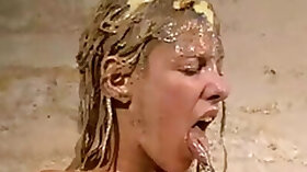 Disgusting humiliation of Crystal Lei and messy food punishment of filthy blonde in mercilessly dirt degradation and sic. Degraded, Spanking P