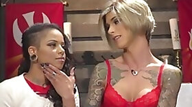 Tall TS cocksucked by kinky glam babe