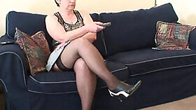 brunette is getting a cock placed inside her mouth and practice masturbating