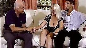 Chubby blonde wifey masturbates on bed