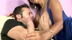 Busty cougar jerks hard cock before getting doggystyled