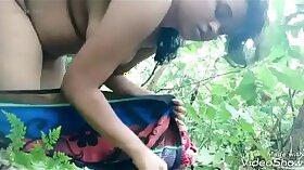 Boyfriend watches teen farting outdoors